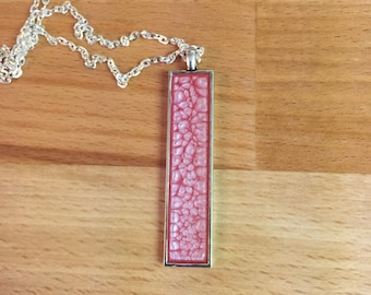 Pink Necklace / Pink Abstract Art / Pink Jewelry / Pink and Silver / Pink Pendant / Rectangle Pink Necklace / Long Necklace / Boho Jewlery