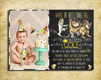 Where The Wild Things Are Invitation - Where The Wild Things Are Birthday Chalkboard Invite With Photo - Printable And Digital File