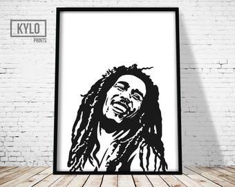 Bob Marley Print, Home Decor, Wall Art, Bob Marley, Instant Download, Bob Marley Art, Digital Print, Printable Art, Bob Marley Printable