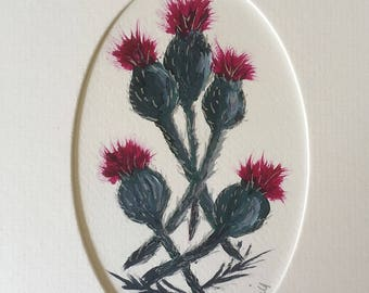 "Original Acrylic painting of Scottish Highland Thistles, supplied with a soft white coloured mount overall size is 5"" x 7"""