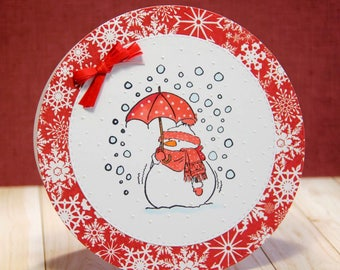 Christmas card with snowman with umbrella with polka dots (2)