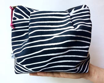 Zippered Pouch, Cosmetic Bag, Black, Pink & White, Make-Up Bag, Catch-all, Pouch, Small Bag