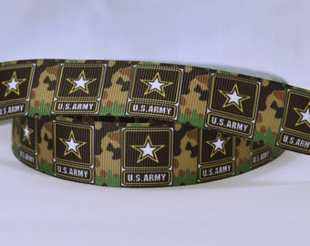 Army Camouflage Inspired Printed Grosgrain Ribbon 1""