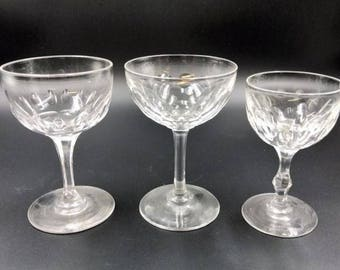 Beautiful Lot of 3 Vintage Clear Wine Glasses