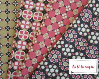 "Fabric set of 4 100% cotton ""Wax"" Oekotex certified fabrics coupons"