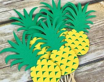 Pineapple Cupcake Toppers, Luau Party, Pineapple Party, Birthday Decor, Baby Shower