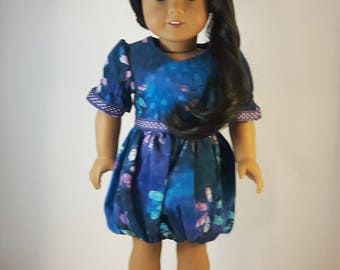 18 Inch Doll Dress, AG Doll Dress, Bubble Skirt Doll Dress, American Girl Dress, AG Doll Dress Blue, Gift for Girls, 18 inch Doll gown