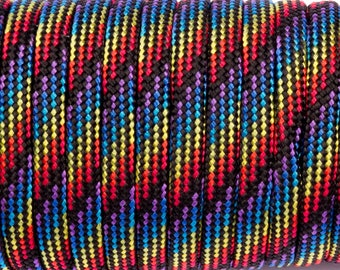 5 meters of Paracord multicolor on black background
