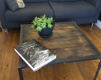 Cabinet style industrial coffee table