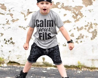 Calm your fits, Toddler Tee, funny toddler tee, monochrome tee, Toddler Boy, Toddler Girl