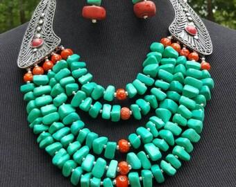 Obaa pa turquoise necklace set