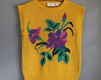Vintage Vibrant Yellow Floral Sleeveless 80s Sweater Size Medium by C.G. Career Guild