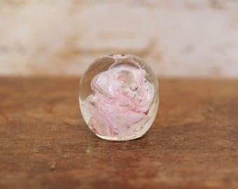 1970s Petite Pink Swirl Paperweight
