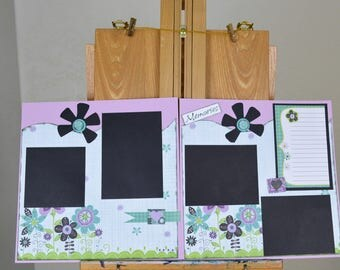 Premade 12 x 12 scrapbook layouts, Two page layouts, Memory scrapbook layouts, Premade pages, Floral layouts