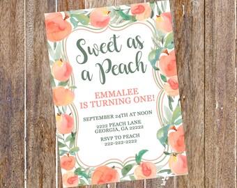 Sweet as a Peach Invitation, Sweet as a Peach Invite, Georgia Peach Invitation, Peach Invitation, Peach Birthday