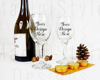 Wine Glasses Mockup, Holiday Stock photo, xmas Stock Image, Christmas Styled Stock Photography, Mock up for sticker, engraving, decals, 694