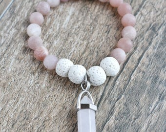 Moonstone Diffusing Bracelet with White Lava Beands and Pink Quartz Crystal 5.75""