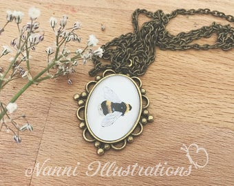 Necklace with Bee Watercolor - Pendant