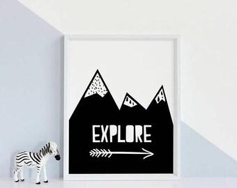 Explore print, StudioMini, explore Sign, Explore Art, Explore Poster, Explore Wall Art, Explore Gift, Travel Quotes, Inspirational Quotes