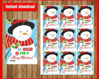 Printable Hand Soap Gift Tags - We WASH You Merry Christmas! - Instant Download