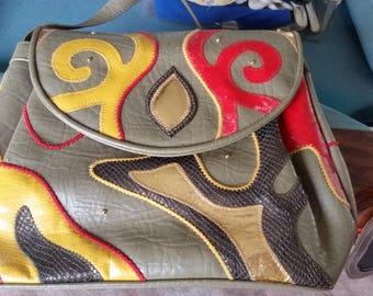 Vintage 1970/80s Patchwork Tan Shoulder Bag Purse