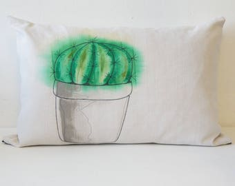 Removable cushion in vintage fabric issued from recycled old linens painted and embroidered by hand