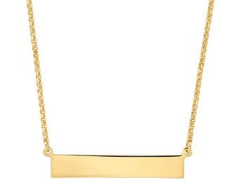 Yellow Gold-Plated Sterling Silver Necklace with Engraveable Bar Pendant
