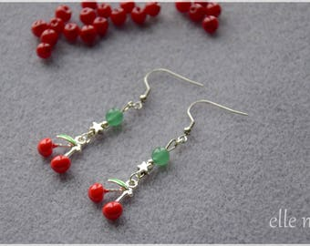 Bright cherry Stud Earrings, Star and green beads