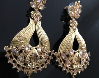 Golden Kundan Earrings - Pakistani Earrings - Indian Earrings - Temple Earrings - Temple Jewelry - Antique Gold Earrings - Bridal - Desi