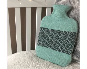 Mint Chrome Geometric Design Hot Water Bottle Cover Knitted in Supersoft Lambswool