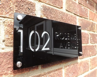 Modern House Numbers, aluminium with Black acrylic - contemporary home address - sign plaque - door number And Street Name 300mm x 140mm