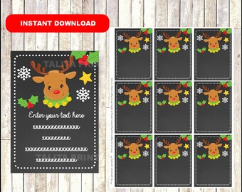 Christmas Reindeer Noses Gift Tags - Christmas Favor Tags - Christmas present tags - reindeer tags - TYPE Your Own Text - Editable