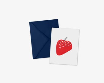 Strawberry card, greeting card, blank inside, fruit art, just because, A2