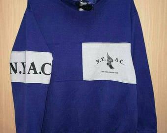 Rare!! New York NYAC Spellout Striped Sweatshirt