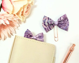 Purple Marble Fabric Bow Planner Clips and Charms