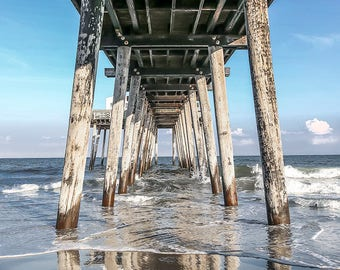 Photography of the  Fishing Pier day Time,Ocean City NJ,Canvas Art (12x14) Wall Art,Art on Canvas.