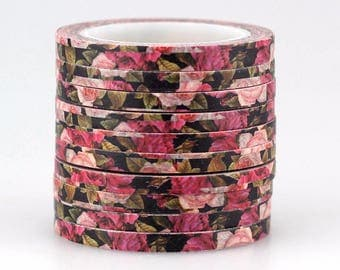 Washi tape 4 mm tape 1 piece 10/m. with floral decorations