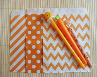 Paper bags 10 piece set Middy Bitty Chevron orange color 3 designs