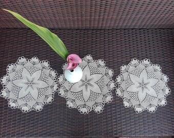 Set of 3 pcs hand knitted decorative napkins, Set of 3 pcs Beige Napkins, Beige Knitted Decorative, Beige 100% Cotton Napkins, Table Decor