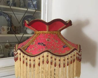 A Victorian, Downton, lampshade, red, silk, embroidered, gold, fringe, beaded, crown, deco, 16 inches