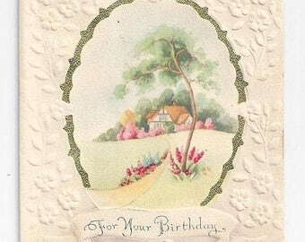 "On Sale 1940s Floral Vintage Birthday Card ""For Your Birthday"""