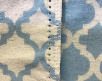 Baby Blue hemstitched flannel baby blanket
