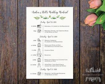 Wedding Weekend Timeline Etsy