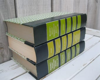 Instant Library<>GREEN READER's DIGEST Books<>Set of 3 Reader's Digest Condensed Books<>Instant Books Stack Decor and Reading<>Texas Dawn.