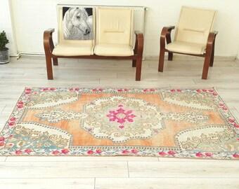 Oushak Rug  92 x 52 inches Kilim rug  Home Living Room Office Decor Turkish Kilim Rug Handwoven Anatolian color rug Pile Rug As a gift