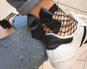 Bow Fishnet Socks