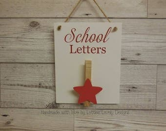School letters plaque, Hanging / Magnet sign, fridge magnet, notice holder, letter storage, display, school notices, reminders