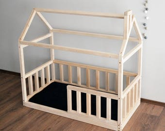 Toddler Bed House Bed Pine Wood Wooden Bed Montessori Bed