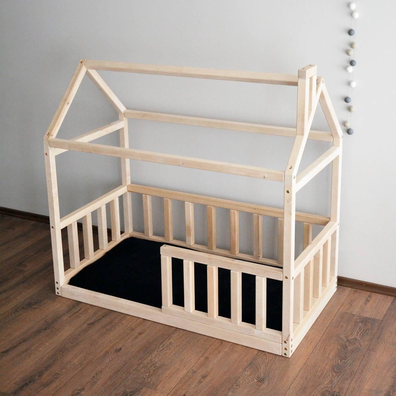 Marco de la cama de casa cama del ni o montessori cuna cuna for Camas en forma de casa