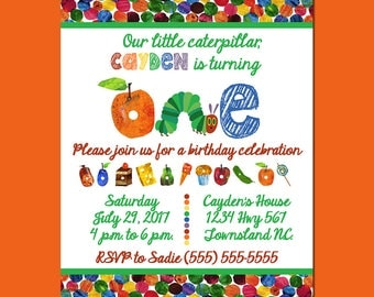 Hungry Caterpillar Birthday Invitation